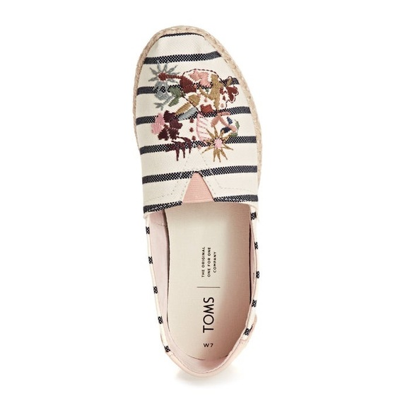 Toms Shoes - TOMS Woven Stripe Floral Embroidery 8.5